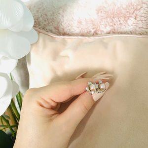 14k Pink Freshwater Pearl Floral Stud Earrings